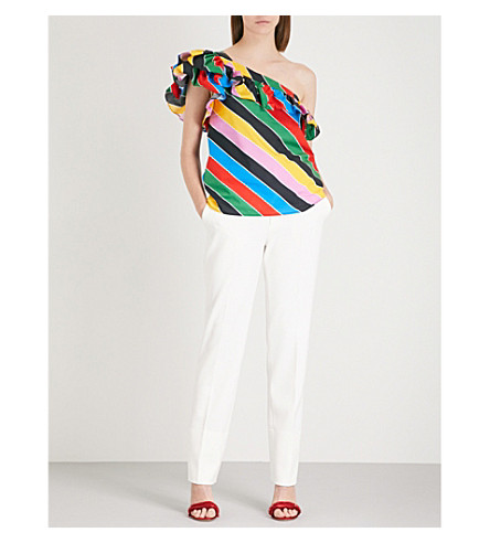 PHILOSOPHY DI LORENZO SERAFINI Striped ruffled one-shoulder cotton-poplin top (Multicoloured