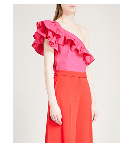 PHILOSOPHY DI LORENZO SERAFINI One-shoulder ruffled cotton top (Pink