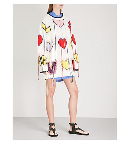 PHILOSOPHY DI LORENZO SERAFINI Oversized heart-print knitted jumper (Multicoloured