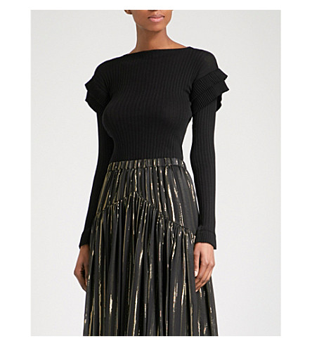 PHILOSOPHY DI LORENZO SERAFINI Tiered-sleeve ribbed cotton jumper (Black