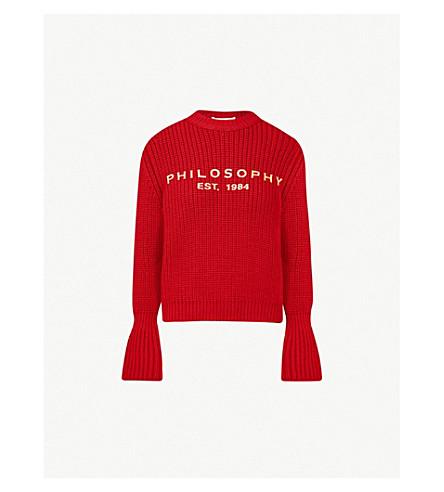 PHILOSOPHY DI LORENZO SERAFINI 标志打印扩口-袖口羊毛毛衣 (红色