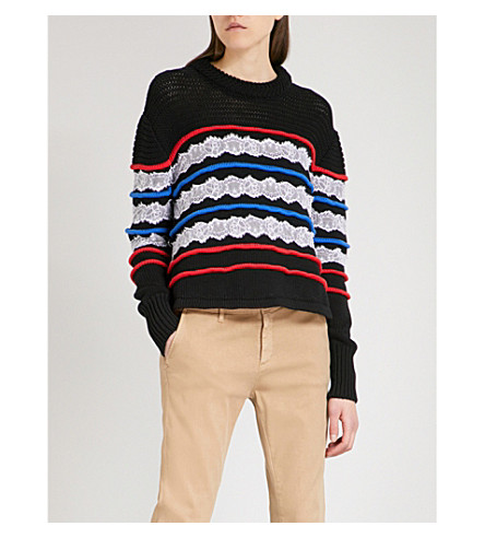 PHILOSOPHY DI LORENZO SERAFINI Contrast-trim cotton and lace jumper (Multicoloured