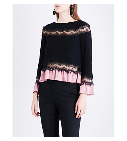 ALBERTA FERRETTI Boat-neck silk and lace-panel wool jumper (Black
