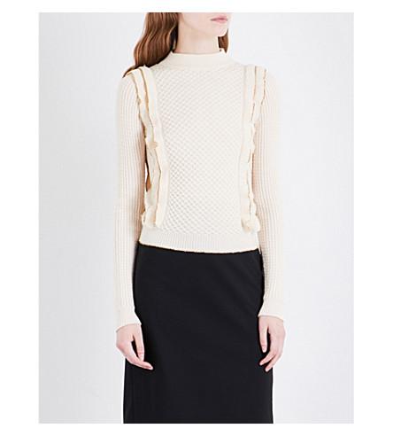 PHILOSOPHY DI LORENZO SERAFINI High-neck ruffled cable-knit wool sweater (Cream