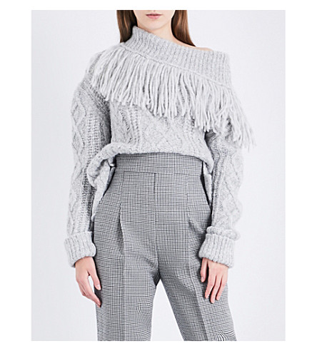 PHILOSOPHY DI LORENZO SERAFINI Off-the-shoulder fringed cable-knit jumper (Grey