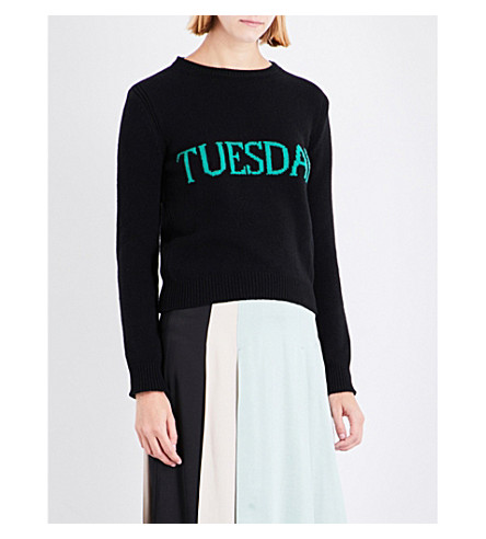 ALBERTA FERRETTI Weekday wool and cashmere-blend jumper (Black+/+green