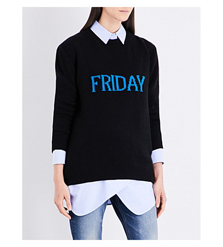 ALBERTA FERRETTI Letter wool and cashmere-blend jumper (Black+/+blue