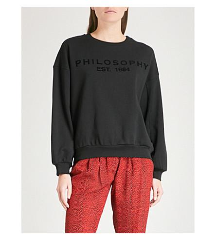 PHILOSOPHY DI LORENZO SERAFINI Logo-detail cotton sweatshirt (Black