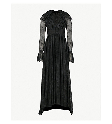 PHILOSOPHY DI LORENZO SERAFINI Floral-embroidered lace maxi dress (Black