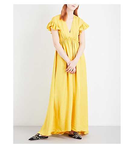 PHILOSOPHY DI LORENZO SERAFINI Ruffled star-jacquard maxi dress (Yellow