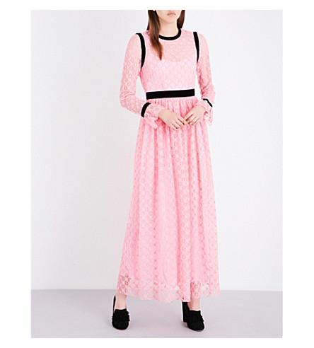 PHILOSOPHY DI LORENZO SERAFINI Geometric lace maxi gown (Bubblegum+pink