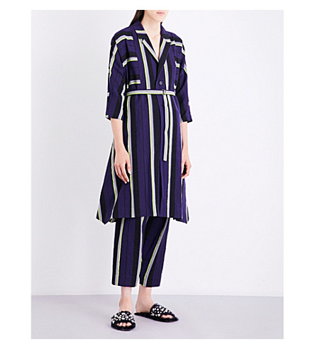 ISSEY MIYAKE Striped linen-blend coat (Navy x yellow
