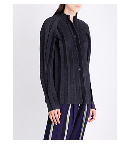 ISSEY MIYAKE Stand-collar pleated jacket (Gray