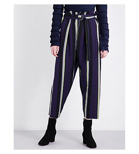 ISSEY MIYAKE Striped linen-blend trousers (Navy x yellow