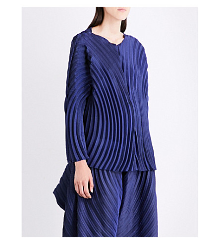 ISSEY MIYAKE Ring pleated top (Navy