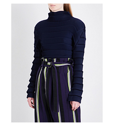 ISSEY MIYAKE High neck pleated top (Navy+x+black