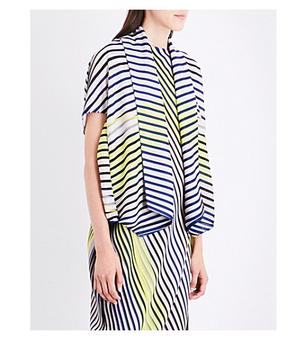 ISSEY MIYAKE Boarder pleated jacket (Navy+x+yellow