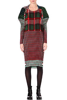 ISSEY MIYAKE Multi-check pleated dress