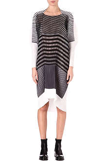 ISSEY MIYAKE Monochrome stripe pleated dress