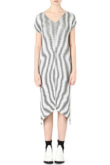 ISSEY MIYAKE Moire pleated polka-dot dress