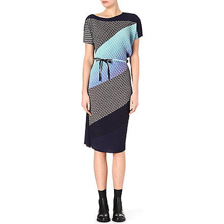 ISSEY MIYAKE Optical-print crepe dress (Bluehued