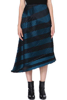 ISSEY MIYAKE Striped pleat detail midi skirt