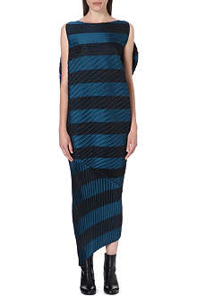 ISSEY MIYAKE Striped pleat detail dress