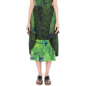 Fern-print pleated skirt