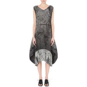 Fern-print pleated dress