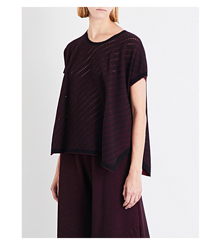 ISSEY MIYAKE Oversized pointelle-knit top (Dark+red