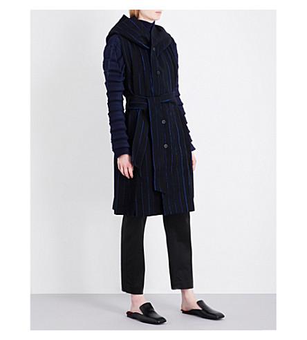 ISSEY MIYAKE Parallel striped wool-blend gilet (Black/navy