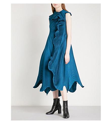 ISSEY MIYAKE Auroras pleated dress (Blue green