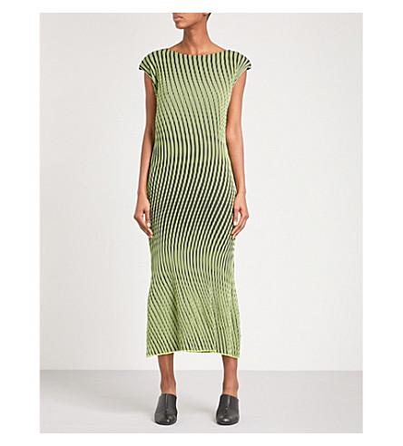 ISSEY MIYAKE Plasma pleated midi dress (Yellow navy