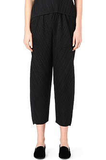 PLEATS PLEASE ISSEY MIYAKE Diagonal-pleat cropped trousers
