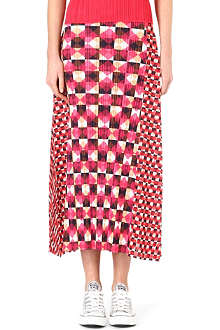 PLEATS PLEASE ISSEY MIYAKE Pleated check-print maxi skirt