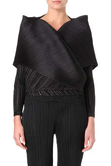 PLEATS PLEASE ISSEY MIYAKE Shawl collar tied-waist top