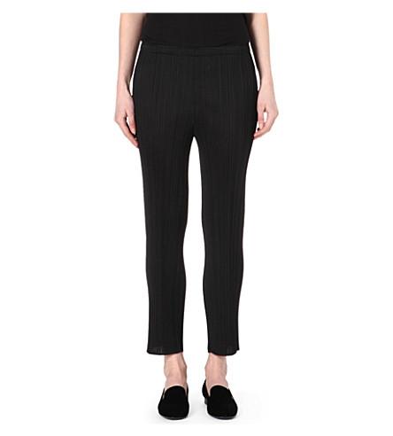 PLEATS PLEASE ISSEY MIYAKE Slim-fit pleated trousers (Black