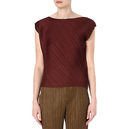 PLEATS PLEASE ISSEY MIYAKE Pleated sleeveless top (Burgundy