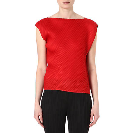 PLEATS PLEASE ISSEY MIYAKE Pleated sleeveless top (Red