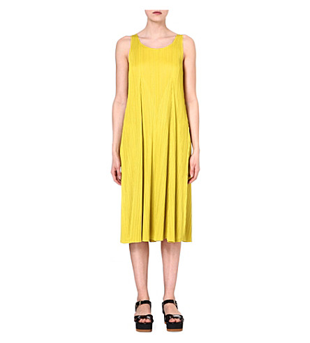 PLEATS PLEASE ISSEY MIYAKE Pleated jersey dress (Yellow