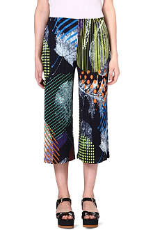 PLEATS PLEASE ISSEY MIYAKE Foliage-print wide-leg pleated trousers