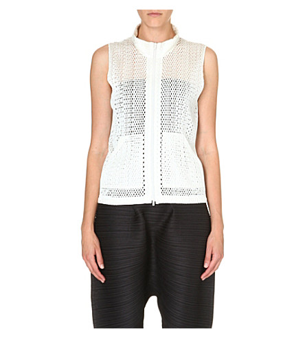 PLEATS PLEASE ISSEY MIYAKE Mesh sleeveless jacket (White