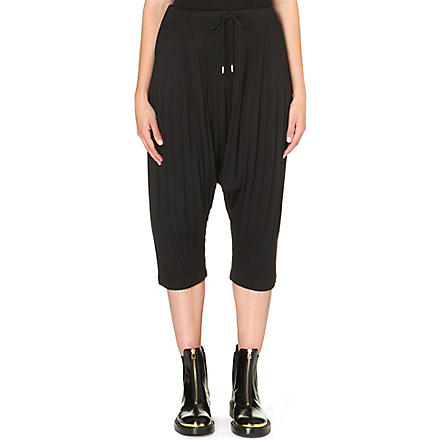 PLEATS PLEASE ISSEY MIYAKE Pleated drawstring harem trousers (Black