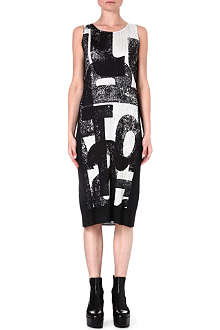 PLEATS PLEASE ISSEY MIYAKE Pleated text-print dress