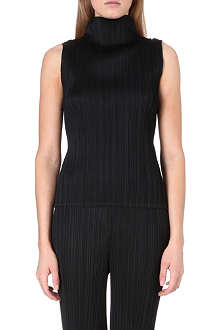 PLEATS PLEASE ISSEY MIYAKE High-neck pleated sleeveless top