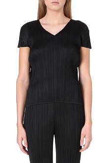 PLEATS PLEASE ISSEY MIYAKE V-neck pleated top