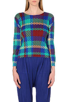 PLEATS PLEASE ISSEY MIYAKE Tartan-print pleated top