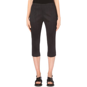 Cropped slim-fit pleated trousers
