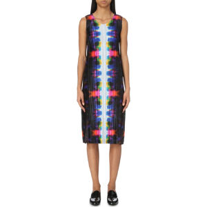 Migrant abstract-print pleated dress