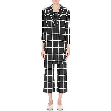 Pleats Please Issey Miyake: Grid line long pleated coat - Hiphunters Shop